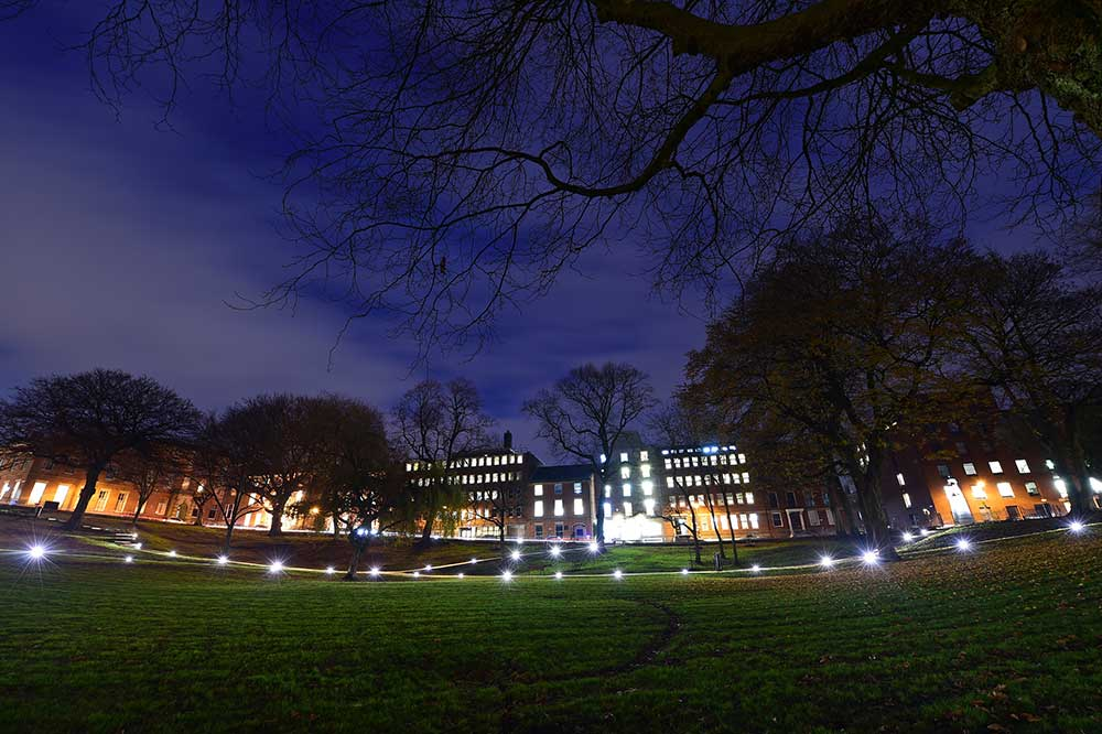 Winckley Square Gardens at night