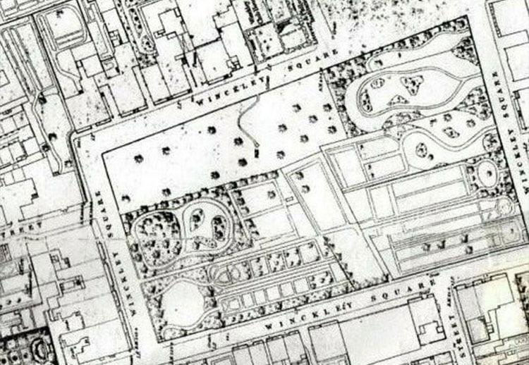 Winckley Square: Extract from OS Map 1849