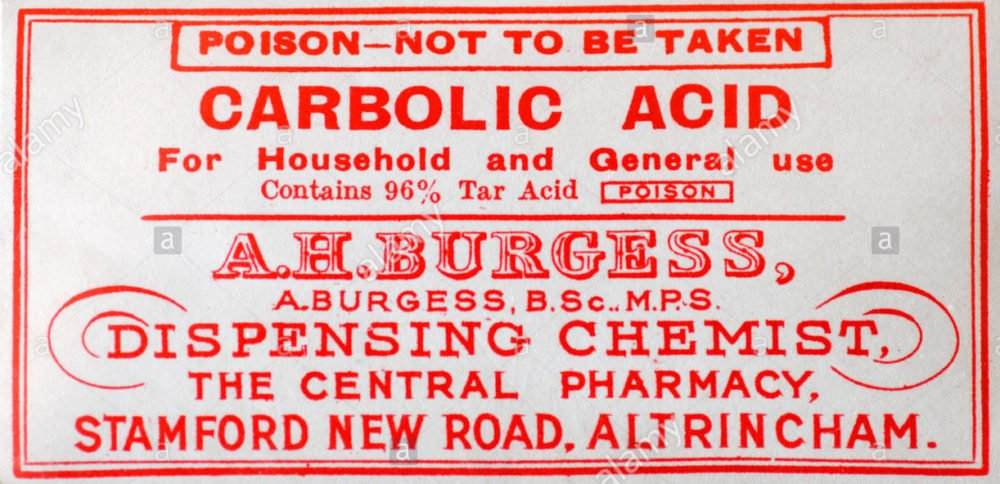 Carbolic acid bottle label