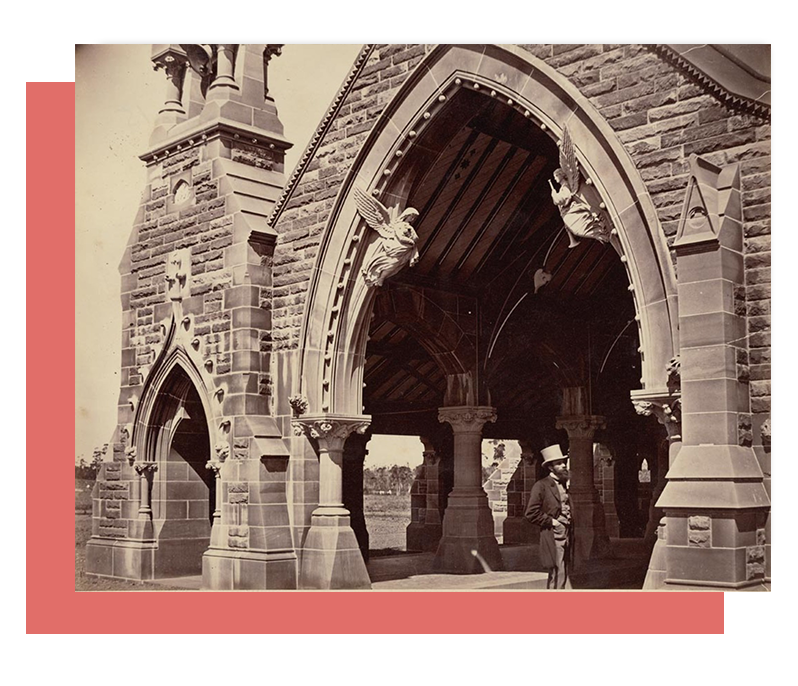 Haslem Creek Cemetery Australia: Railway entrance with two angels on both sides of the arch: New South Wales State Archive