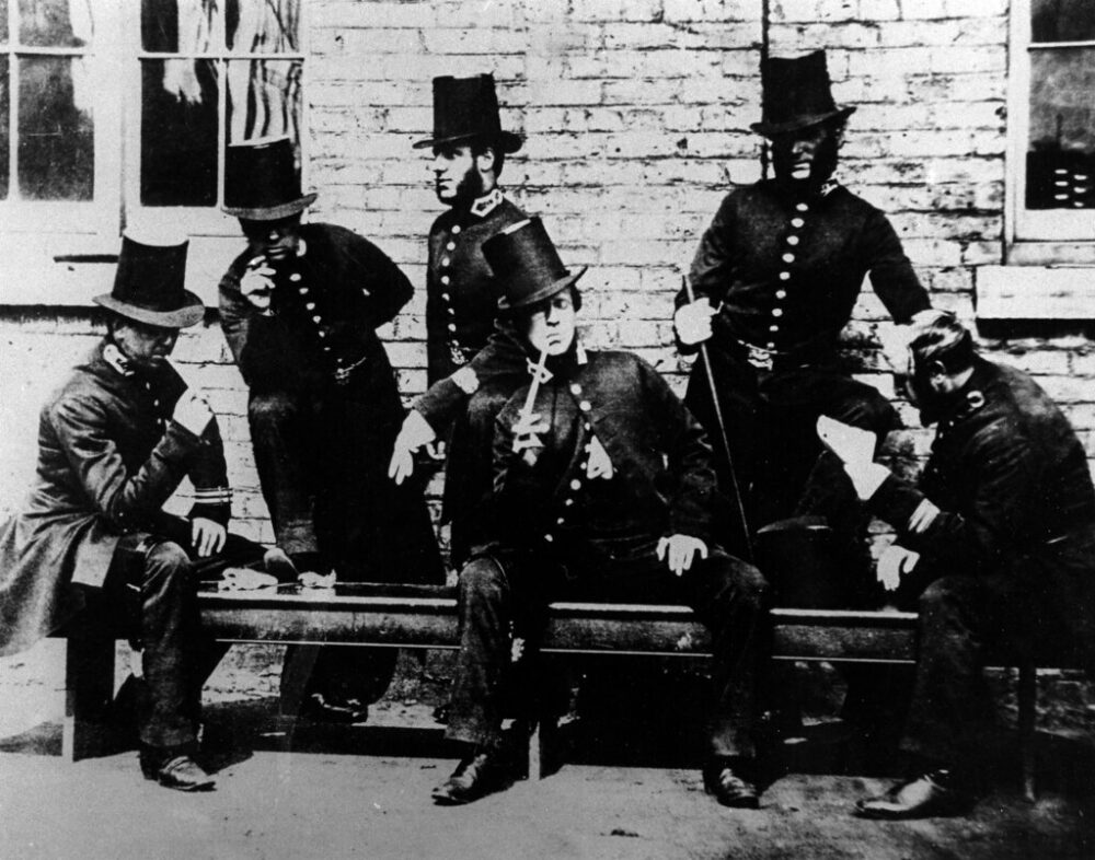 This photograph of Manchester Peelers, taking a break, is thought to be the earliest image of policing in the city: Preston Digital Archive