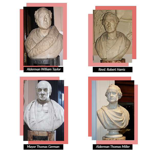 Thomas Duckett's work can be seen in the Harris Museum, Art Gallery and Library. Can you see the similarities between the two bust maquettes and the finished busts?
