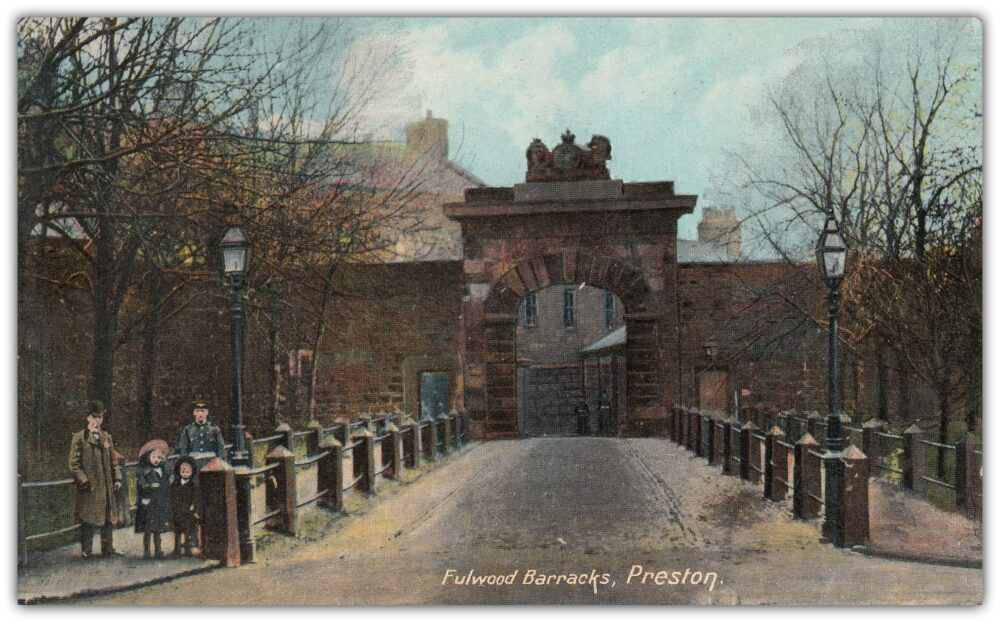 The Barracks' entrance – early printed postcard: Preston Digital Archive