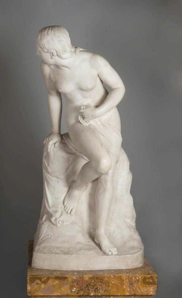 'Nymph Disturbed at Bath' – marble statue on scagliola plinth. Formerly stood at Huntroyde: Creative Commons Attribution-NonCommercial licence (CC BY-NC).