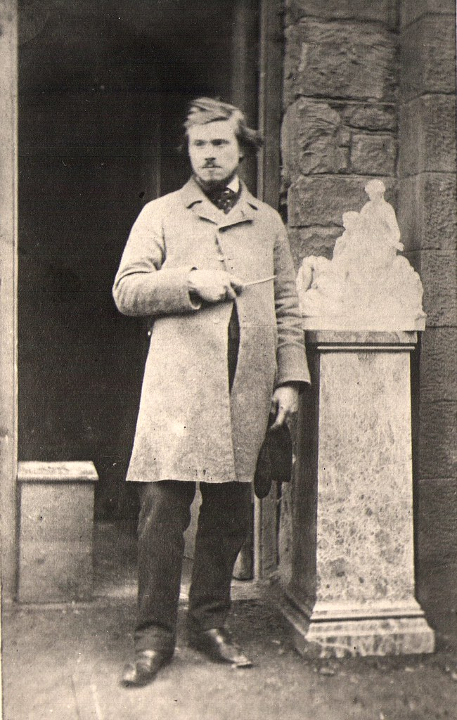 Thomas Duckett Jnr. standing next to the maquette of 'Night and Twilight'' Robert Pateson 1865. Harris Museum, Art Gallery and Library: