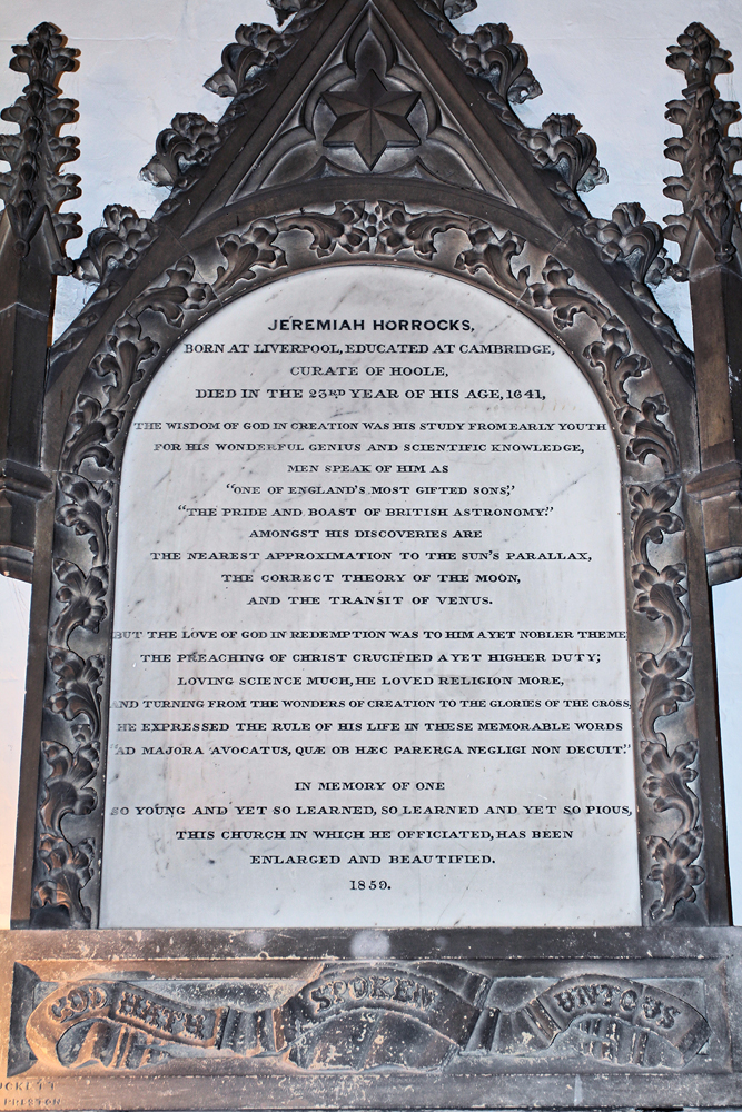 Jeremiah Horrocks 1618-1641 (aka Lancashire's Galileo) monument Thomas Duckett 1859: Craig Thornber, Creative Commons Attribution-Share Alike 3.0